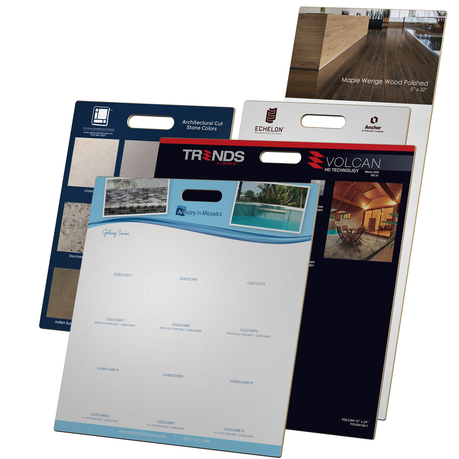 3D Rendering Custom Printed Laminated Sample Boards Marketing Promotion